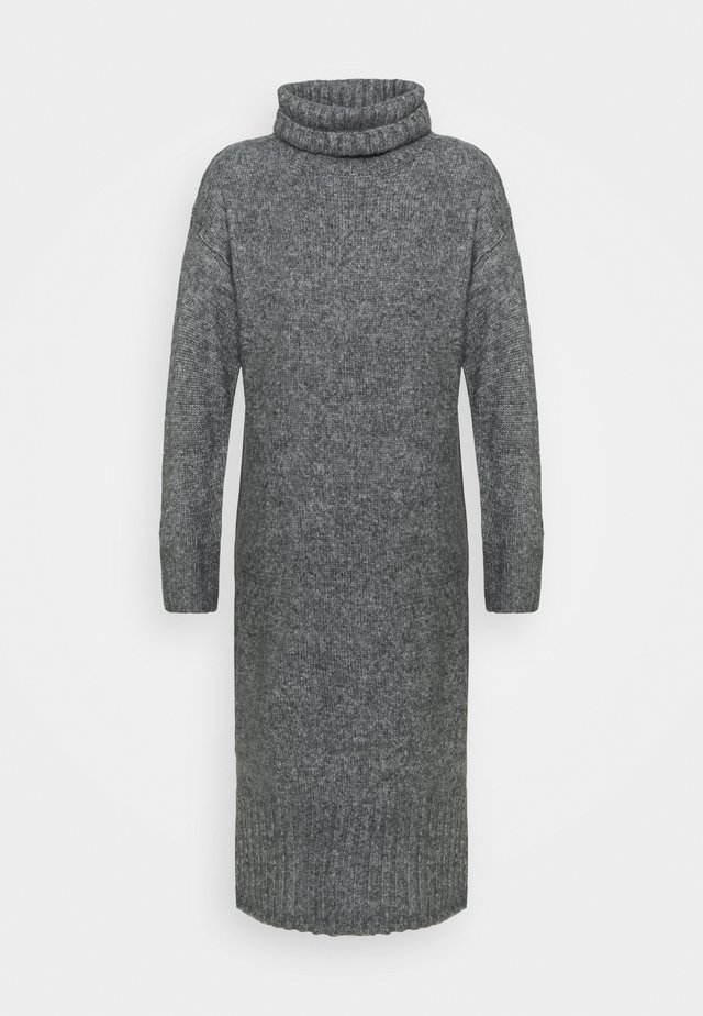 ROLL NECK DRESS - Gebreide jurk - dark grey