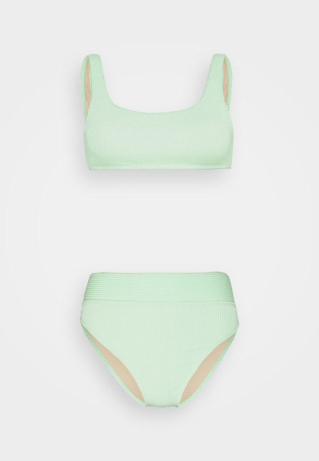 CROP HIGHWASISTED CHEEKY - Bikini - mint crinkle