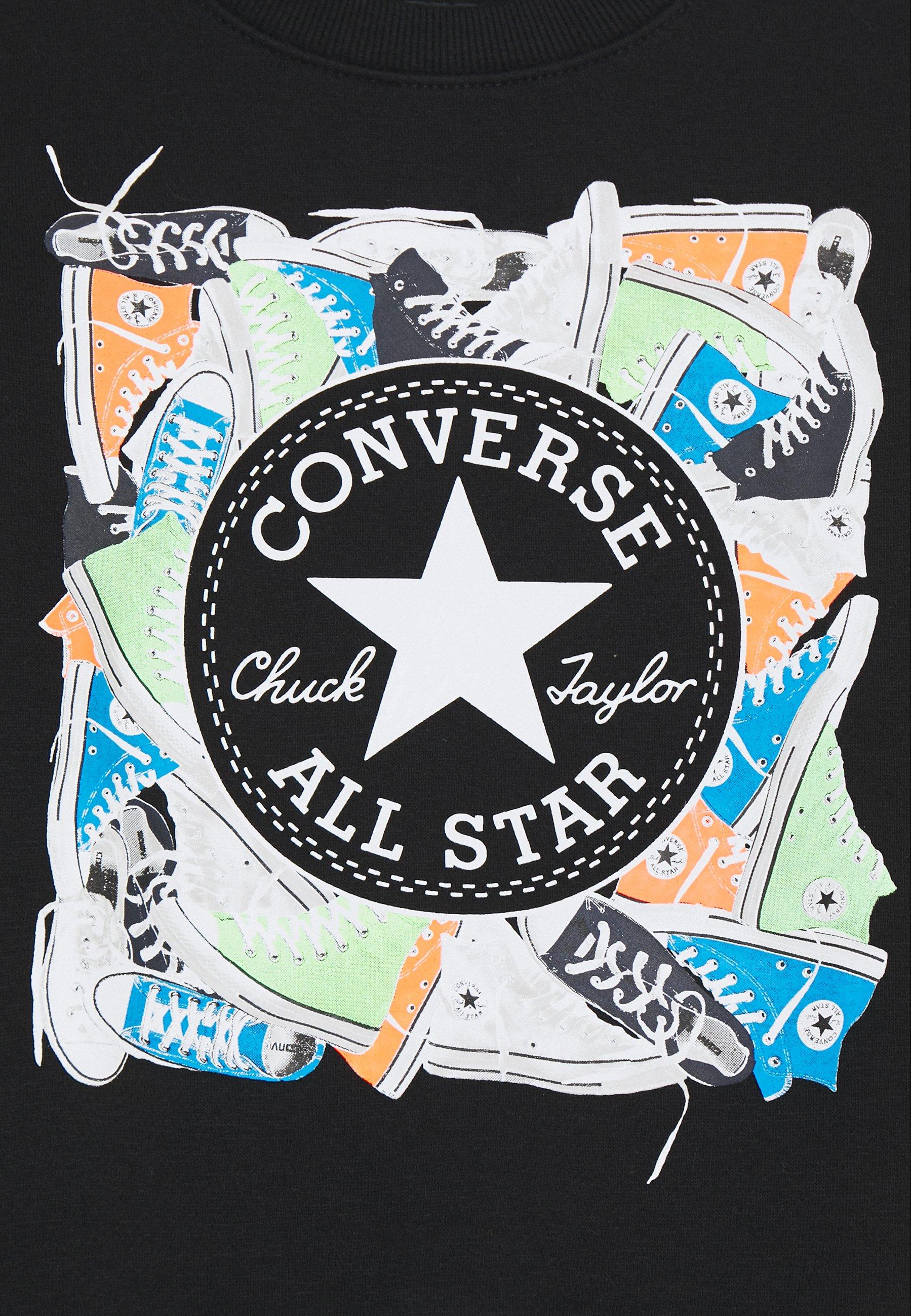Converse SNEAKER CHUCK PATCH CREW - Bluza - black - Ubranka dla dzieci
