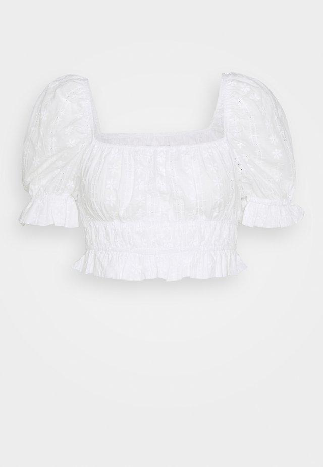 PUFF CROP TOP BRODERIE - Bluser - white