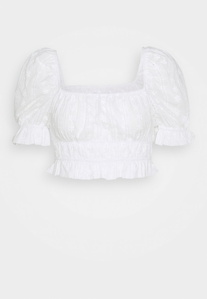 Missguided - PUFF CROP TOP BRODERIE - Blus - white
