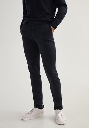 KARIERTE SLIM-FIT AUS BAUMWOLLE - Broek - dark blue