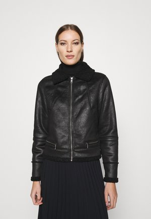 FAUX SHEARLING MOTO - Light jacket - black