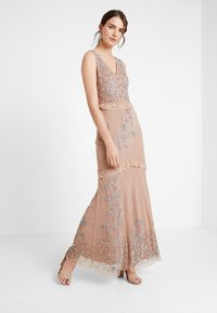 Maya Deluxe - V NECK MAXI DRESS WITH PLACEMENT EMBELLISHMENT AND DETAILING - Occasion wear - taupe blush - 2
