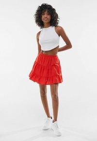 Bershka - A-line skirt - red - 1