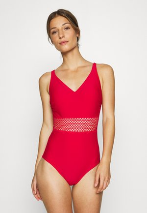 CROCHET WAIST CONTROL SWIMSUIT - Plavky - red