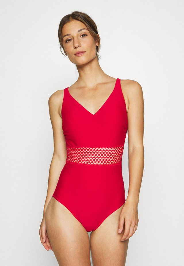 CROCHET WAIST CONTROL SWIMSUIT - Swimsuit - red