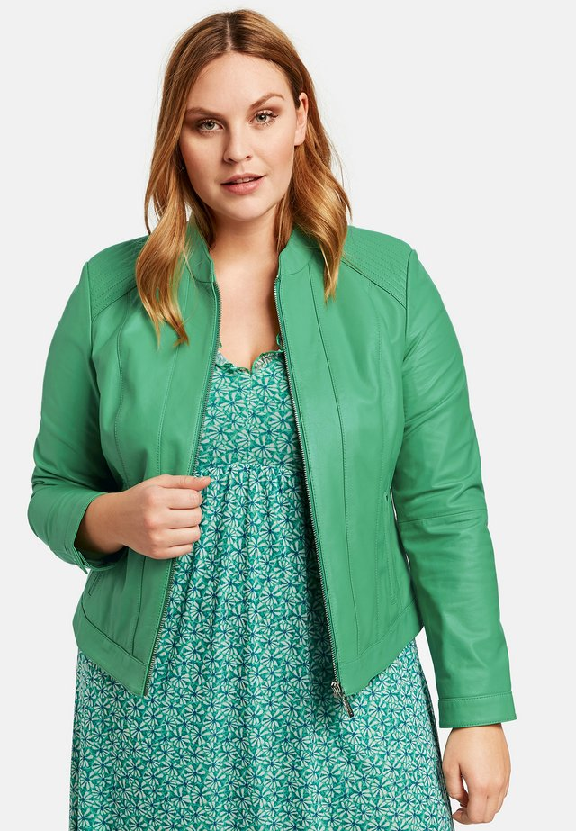 Leather jacket - jade green