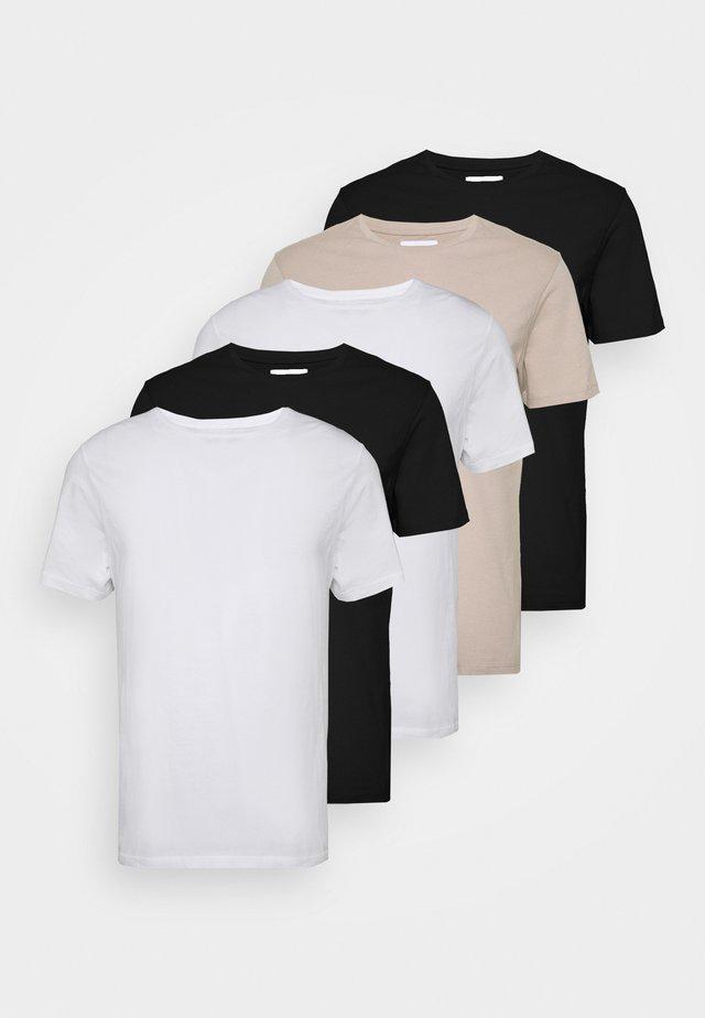 CLASSIC 5 PACK - Basic T-shirt - black/white/stone
