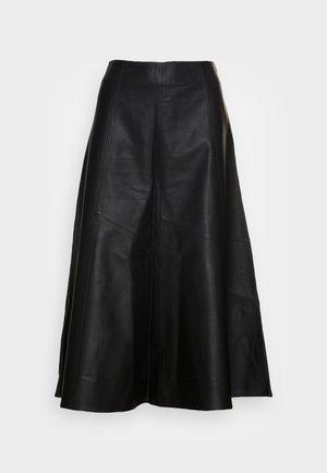 LAUREL - Leather skirt - black