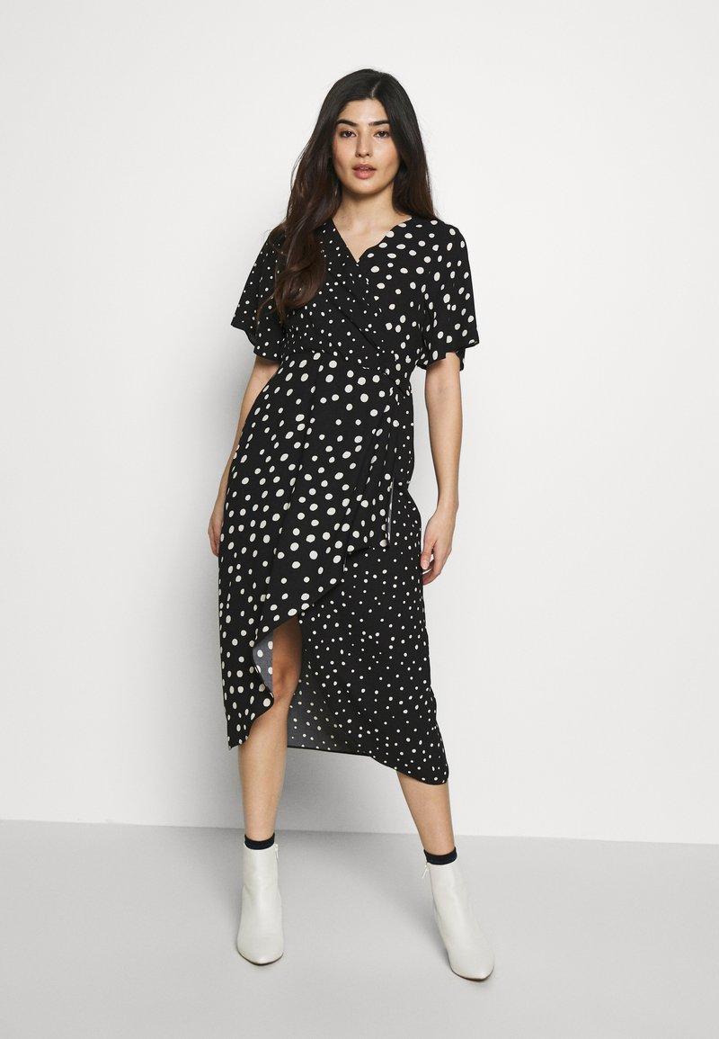 Dorothy Perkins Petite - MONO SPOT MIDI DRESS - Day dress - black