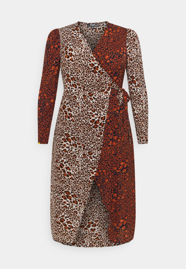 MIX PRINT WRAP DRESS - Day dress - red