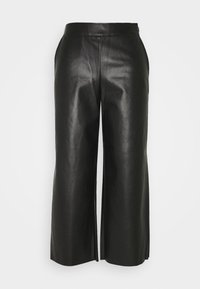 VIPEN CROPPED COATED PANTS  - Trousers - black