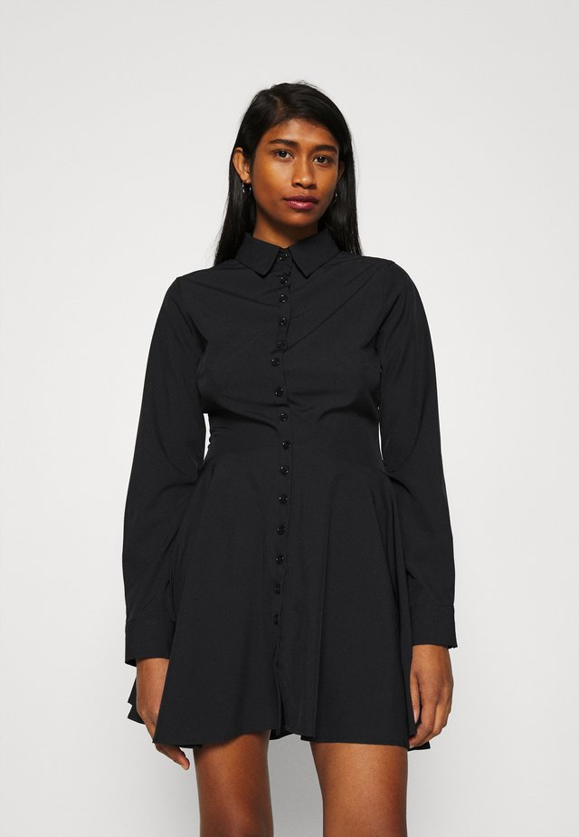 BUTTON DOWN SKATER DRESS - Sukienka koszulowa - black