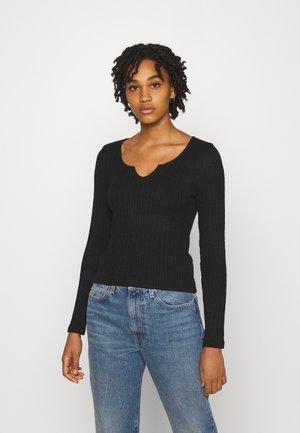 V DETAIL - Long sleeved top - black