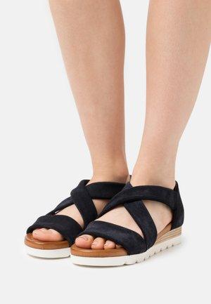 LEATHER  - Platform sandals - dark blue