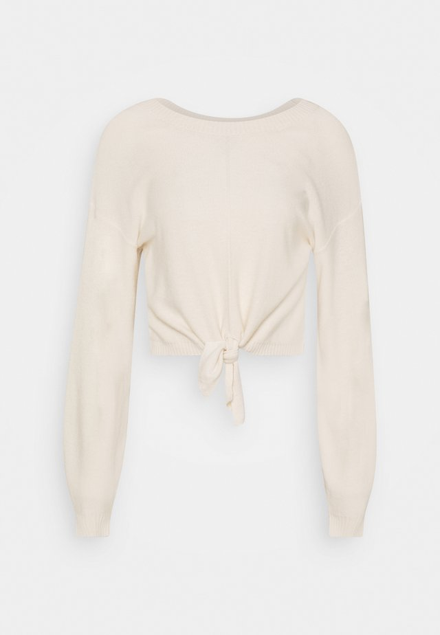 EASY TIE FRONT CREW - Stickad tröja - cream