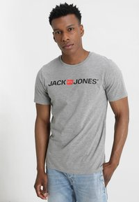 Jack & Jones - JJECORP LOGO CREW NECK  - T-shirt print - light grey melange - 0