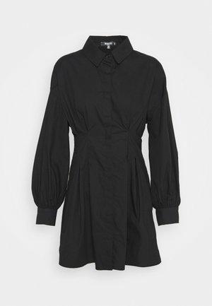 PLEATED WAIST SHIRT DRESS - Shirt dress - black