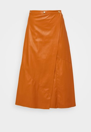 PIECED WRAP SKIRT - A-line skirt - cognac orange