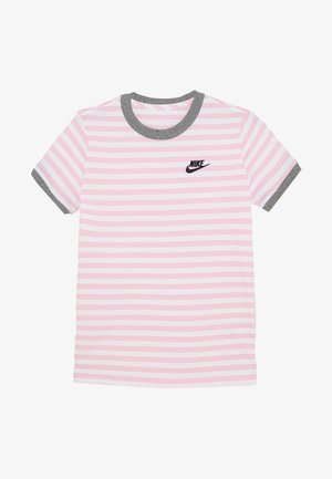 TEE STRIPE RINGER - Triko spotiskem - white/pink