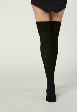 Over-the-knee socks - spinato azzurro polvere