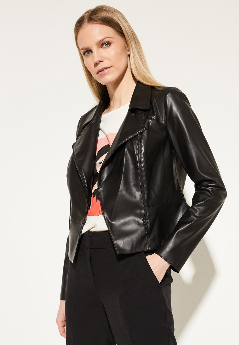 comma - Faux leather jacket - black