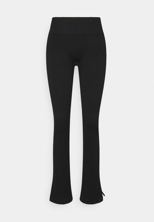 SEAMLESS SLIT PANTS - Joggebukse - black