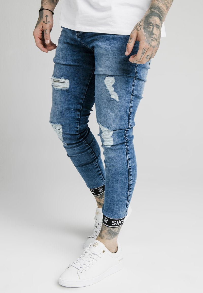 SIKSILK - CUFFED - Skinny džíny - blue