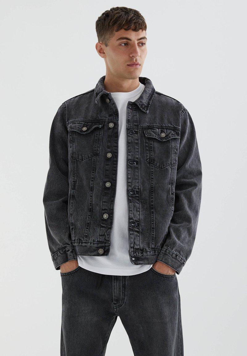 PULL&BEAR - Denim jacket - mottled dark grey