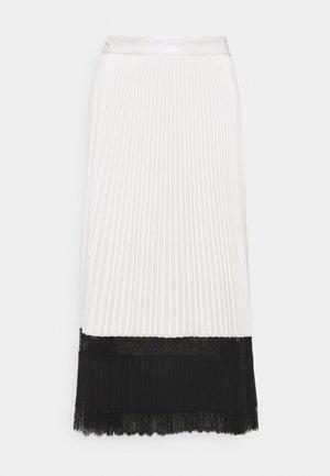 GONNA - Pleated skirt - bianco neve/nero