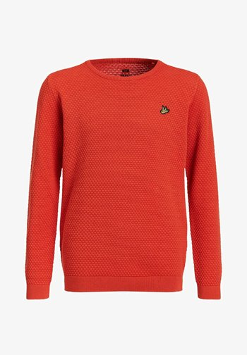 JONGENS FIJNGEBREIDE MET - Pullover - orange