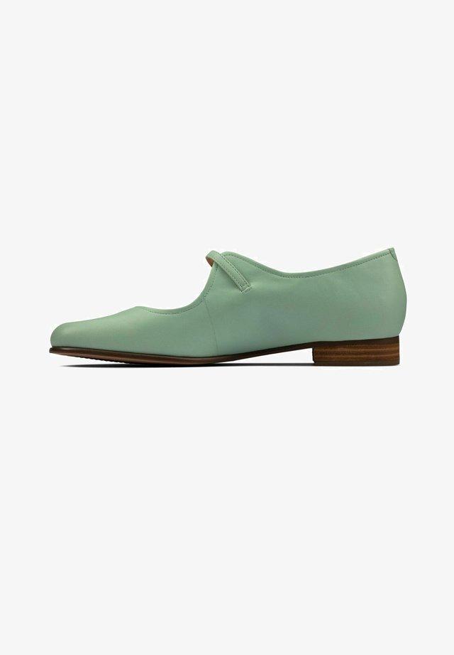 PURE FLAT - Ballerina's met enkelbandjes - mint leather