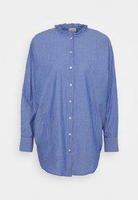 JDYBUBBLE LIFE FRILL LONG - Button-down blouse - estate blue/cloud dancer