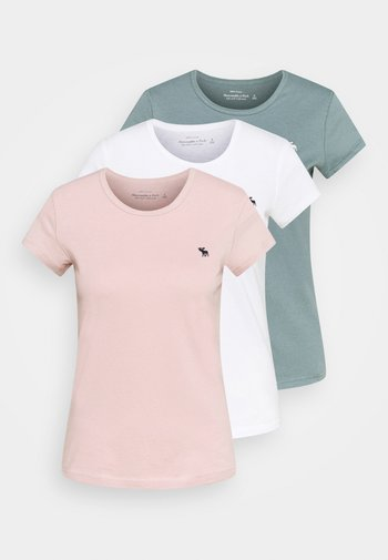 CREW 3 PACK - T-shirts - pink/teal/white