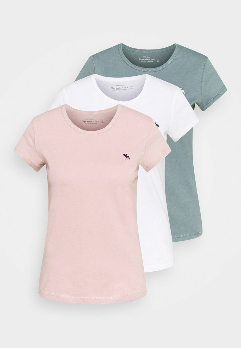 Abercrombie & Fitch - CREW 3 PACK - Basic T-shirt - pink/teal/white