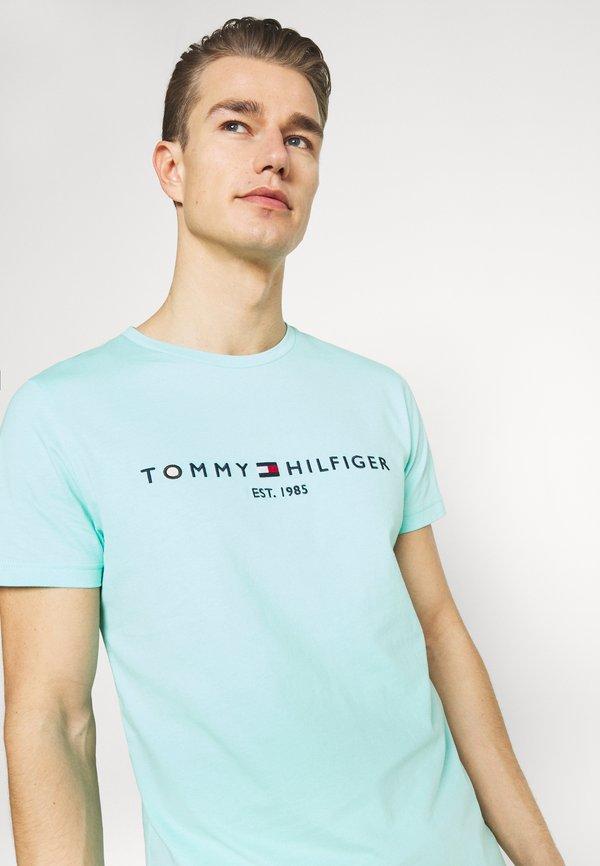 Tommy Hilfiger LOGO TEE - T-shirt z nadrukiem - miami aqua/jasnoniebieski Odzież Męska XZIG