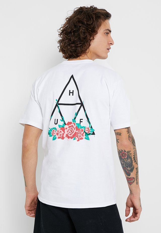 CITY ROSE TEE - T-shirt z nadrukiem - white