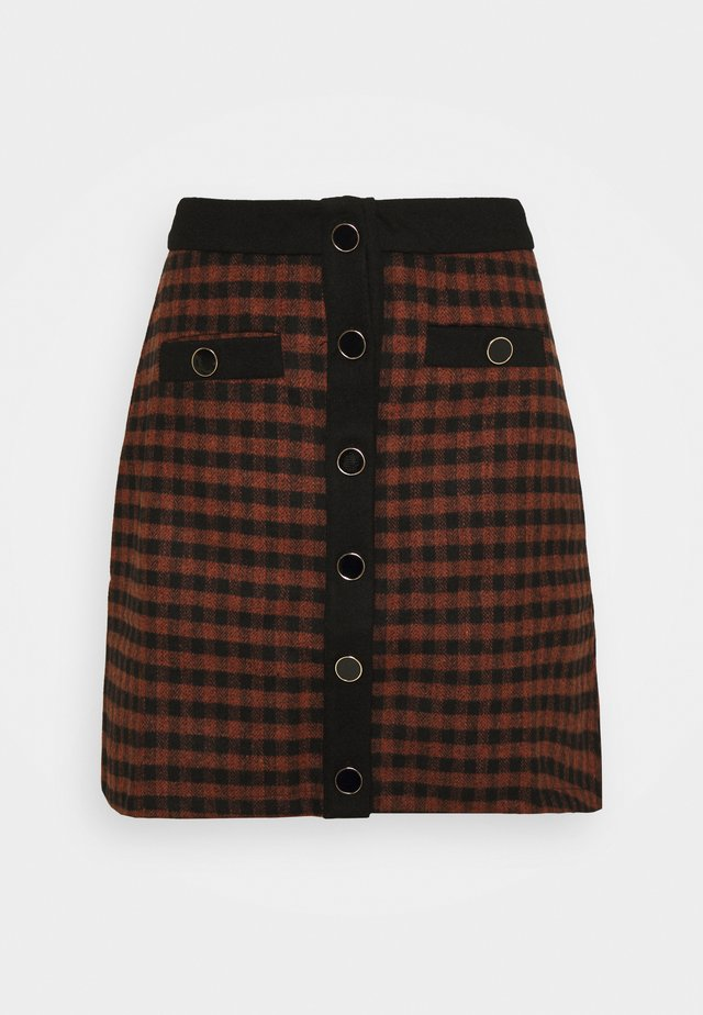 JOHNNY SKIRT - Spódnica mini - camel check