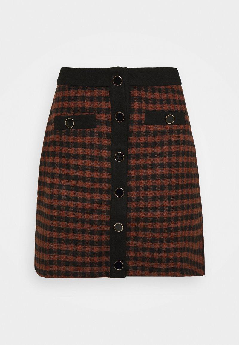 Fashion Union - JOHNNY SKIRT - Mini skirt - camel check