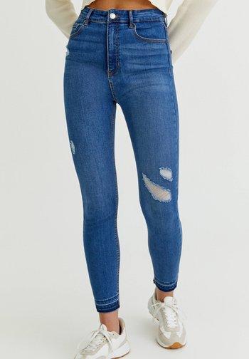 SKINNY HIGH WAIST - Jeans Skinny Fit - mottled royal blue