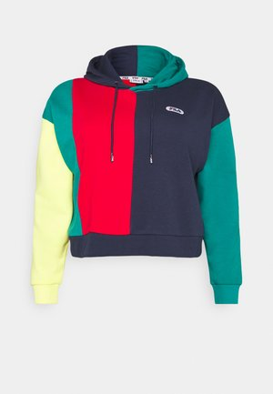 BAYOU BLOCKED HOODY - Hoodie - black iris/true red/teal green/aurora