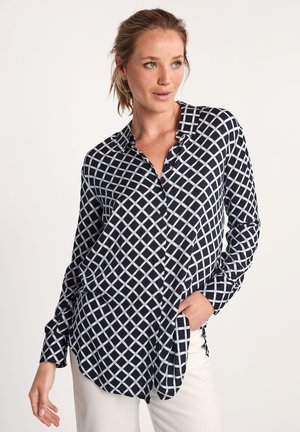 Button-down blouse - dark blue grid