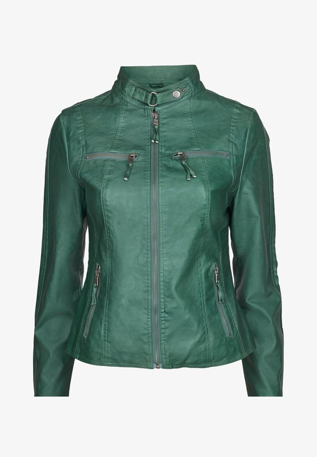 MOSCOW - Imitatieleren jas - dark green