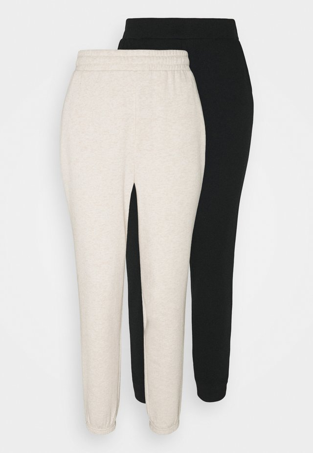 2er PACK - Loose fit joggers - Pantalon de survêtement - black/mottled beige