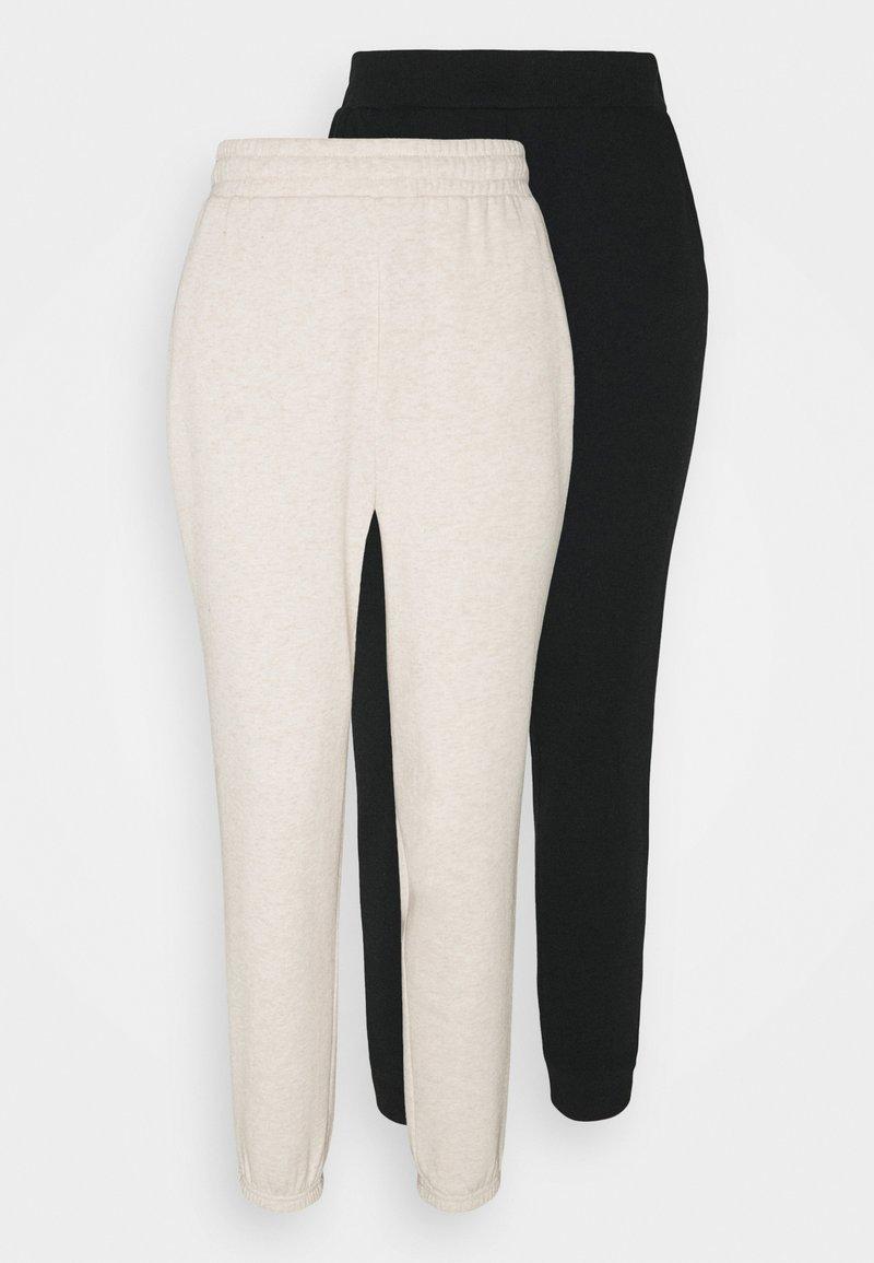 Even&Odd - 2er PACK - Loose fit joggers - Tracksuit bottoms - black/mottled beige