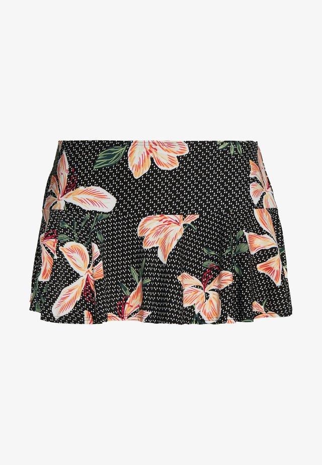 HIBISCUS FLORAL PRINT SWIM SKIRT - Bikini bottoms - black