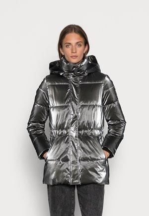 METALLIC SORONA WAISTED JACKET - Winter jacket - high shine dark gun metal