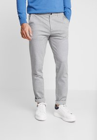 TOM TAILOR DENIM - SLIM STRUCTURE - Trousers - grey melange - 0