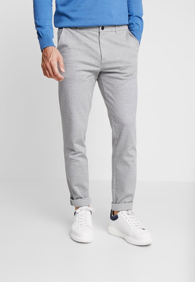 SLIM STRUCTURE - Trousers - grey melange